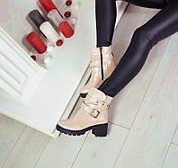 Демисезонные ботиночки каблук 6 см материал натуральная кожа внутри байка, цвет пудра перламутр