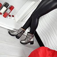 Демисезонные ботиночки каблук 6 см материал натуральная кожа внутри байка, цвет никель