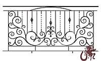 Изготовление кованого ограждения для балкона по шаблону B-100 (проф.труба 15х15х2)