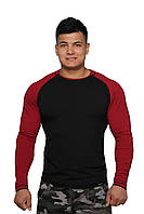 Реглан для занятия спортом и активного отдыха  (черно красный, длинный рукав) Long Sleeve