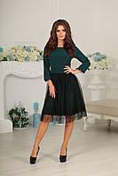 """Нарядное приталенное платье """"VESTA"""" с кружевом и сеткой (3 цвета)"""