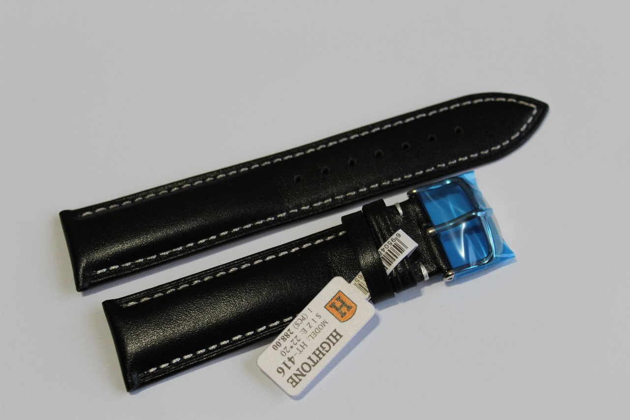 Кожаный ремень для  наручных часов HIGHTON-черный гладкий 22мм с белой прошивкой.