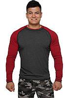Реглан для занятия спортом и активного отдыха  (серо красный, длинный рукав) Long Sleeve