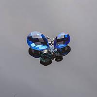 "Брошь ""Бабочка"" 2,5х3см серебристая , синие кристаллы Код:574788107"