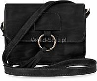 Черная небольшая женская сумка мессенджер с длинной ручкой на плече модель AL-34