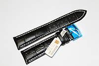 Кожаный ремень для  наручных часов HIGHTON-черный крокодил 22мм с белой прошивкой.