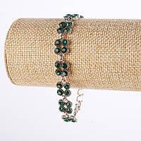 """Браслет под """"капельное серебро""""   с зелеными кристаллами 22см Код:574795383"""