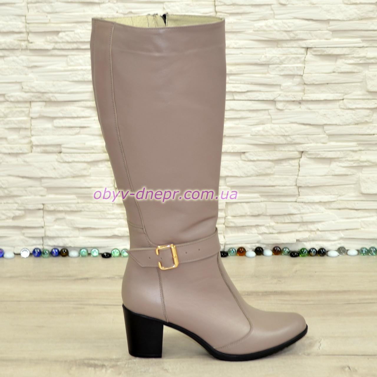 Сапоги женские кожаные, устойчивый каблук. Цвет визон.