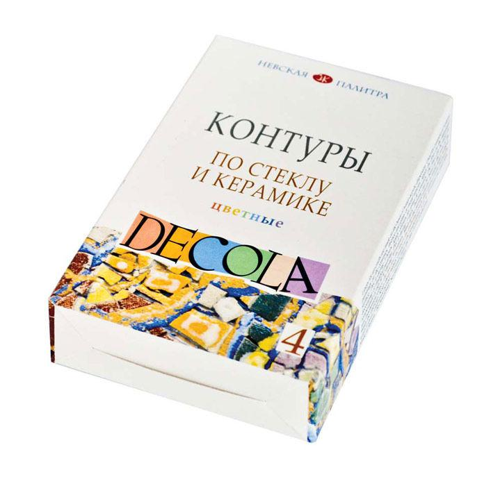 Контурная краска для стекла и керамики ЗХК Невская Палитра DECOLA набор 4цв. по 18мл 5341409