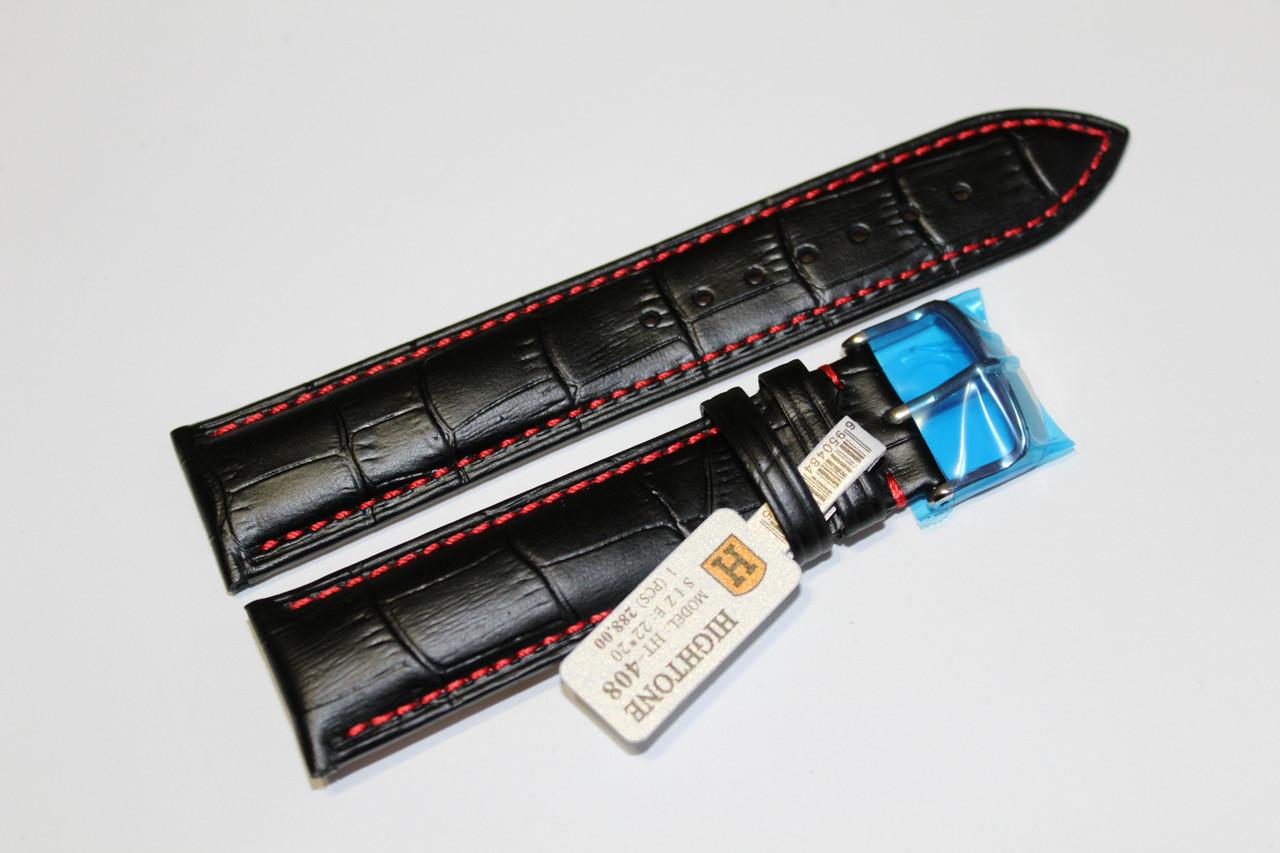 Кожаный ремень для  наручных часов HIGHTON- черный крокодил с красной прошивкой 22 мм.