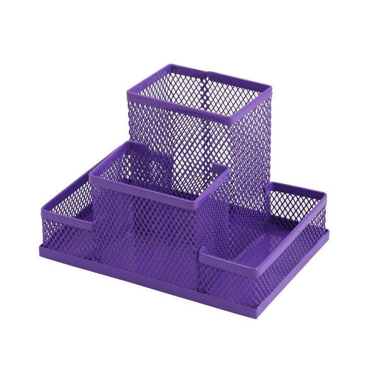 Подставка канцелярская металл сетка фиолетовая 150x100x100мм ZiBi ZB.3116-07