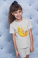 Пижама для девочки принтованая беж