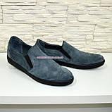 Чоловічі туфлі-мокасини з натуральної сірої замші, на плоскій підошві, фото 2