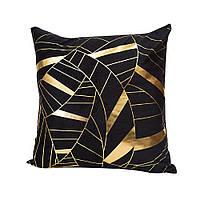 Бархатная черная наволочка на подушку з золотым напылением