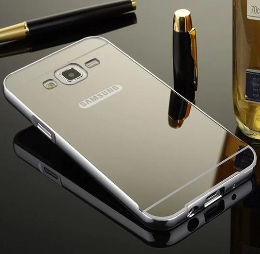Чехол для Galaxy J5 2015 / Samsung J500 зеркальный серебристый