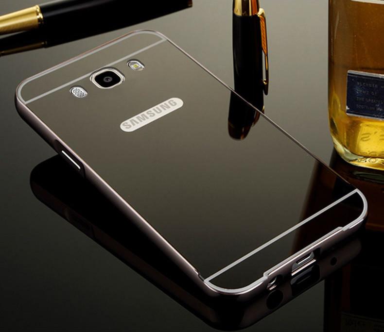 Чехол для Galaxy J7 2016 / Samsung J710 зеркальный черный