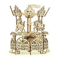 Деревянная сборная механическая 3D модель Wood Trick Карусель 190128