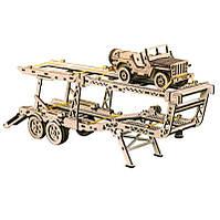 Деревянная сборная механическая 3D модель Wood Trick Прицеп автовоз 190272