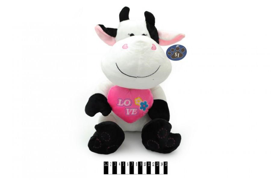 Мягкая игрушка Коровка с сердечком 4176\30, музыкальная 30 см