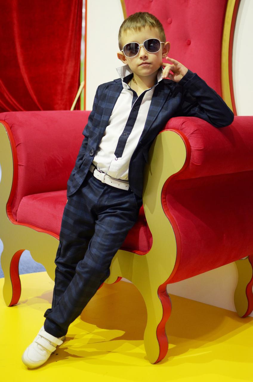"""Детский брючный костюм для мальчика """"Smith"""" с принтом в клетку - Интернет-магазин """"DioModa"""" в Одессе"""
