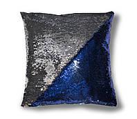 Глумарная Подушка хамелеон перевертыш с пайетками TM Maxi Lari 40х40 см двухцветная Синяя с Серебром