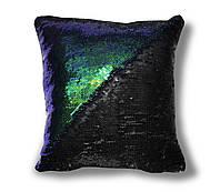 Подушка антистресс перевертыш с пайетками TM Maxi 40х40 см двухцветная Зелено-синяя с Матовым черным