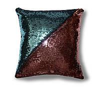 Блестящая подушка перевертыш из пайеток TM Maxi Lari 40х40см двухцветная Голубая с Розовым