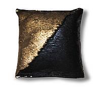 Подушка антистресс с пайетками TM Maxi Lari 40х40см двухцветная Матовое золото с Матовым Черным