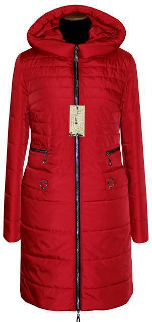 Красная удлиненная демисезонная женская куртка