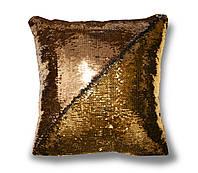 Гламурная подушка хамелеон с пайетками TM Maxi Lari 40х40см двухцветная Желтое золото с Красным Золотом