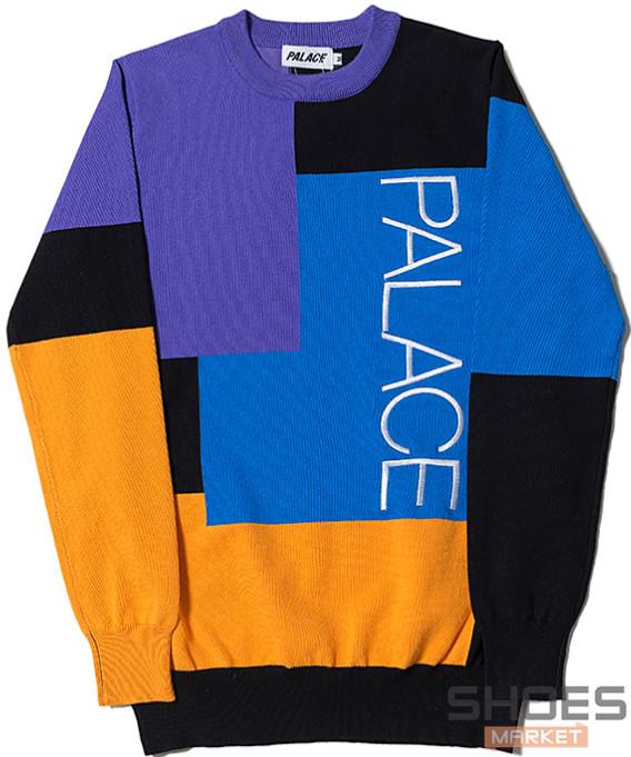 Свитшот Palace Blue/Black/Yellow (ориг.бирка)