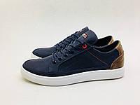 """Мужские кожаные кроссовки Tommy Hilfiger сине-карамельный """"крейзи"""" , фото 1"""