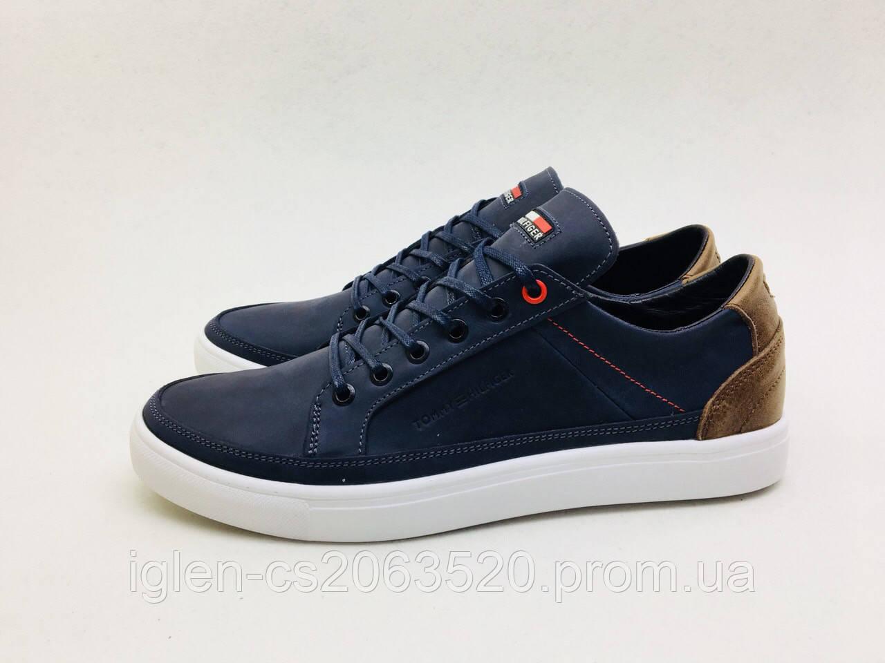 Мужские кожаные кроссовки Tommy Hilfiger сине-карамельный
