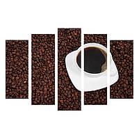 "5-Модульная картина ""Белая чашка кофе"" холст"