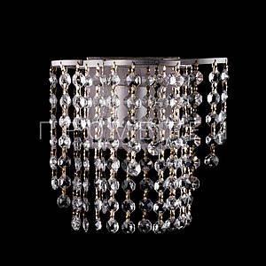 Хрустальное бра на 1 лампочку (золотая патина). P5-E0632/1W/WT+FG