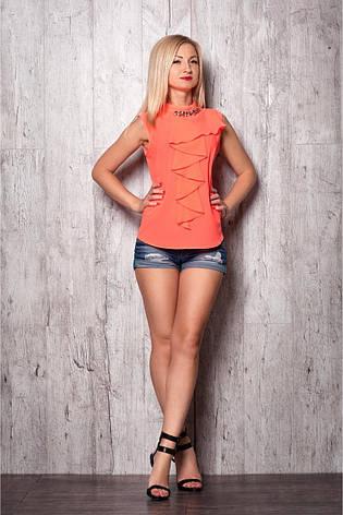 Стильная яркая летняя блуза из креп-шифона с декоративными камнями, фото 2