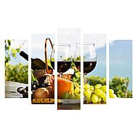 """Модульная картина из 5-ти частей """"Вино и фрукты"""""""