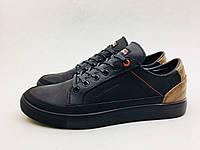 """Мужские кожаные кроссовки Tommy Hilfiger черно-карамельный """"крейзи"""""""
