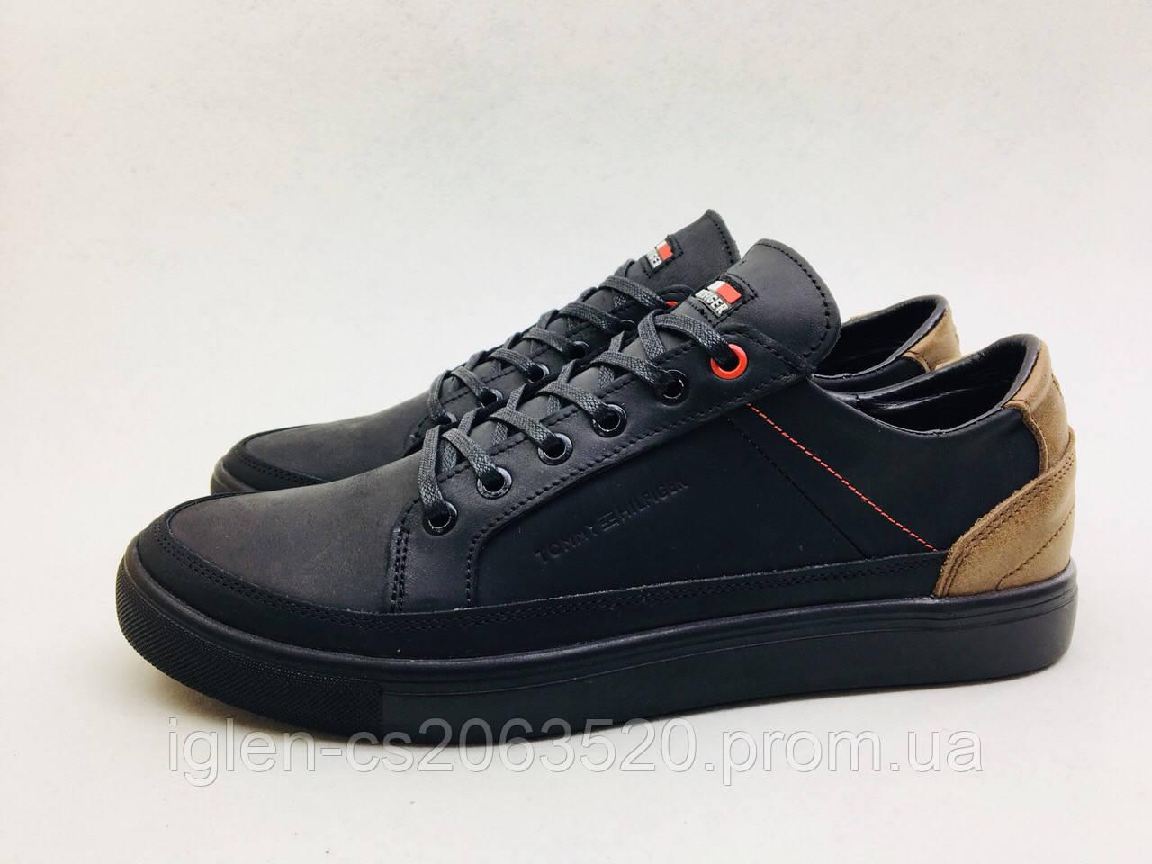 Мужские кожаные кроссовки Tommy Hilfiger черно-карамельный