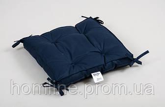 Подушка на стул Lotus Optima 40*40*5 с завязками синяя
