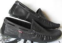 Стильные мужские кожаные мокасины Levis черная кожа