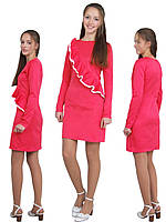 Платье  для девочки с рукавом   М -1131 рост 128-164 трикотажное разных цветов розовый, фото 1