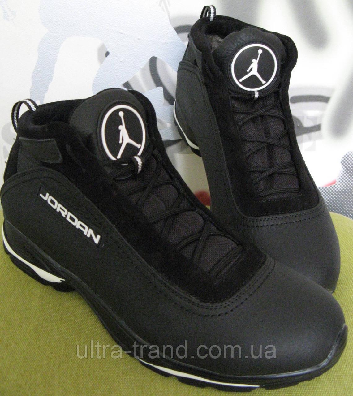 Мужские кожаные зимние кроссовки  Jordan черные с белыми вставками