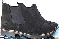 Женские кожаные ботинки в стиле Timberland черный замш весна осень
