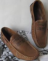Стильные мужские кожаные мокасины Levis светло-коричневая кожа