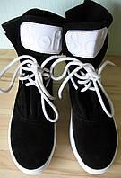 Весенние женские ботинки Sofi натуральная замша цвет черный