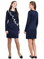 """Платье  для девочки с рукавом   М -1131 рост 128-164 трикотажное  синий тм """"Попелюшка"""", фото 1"""