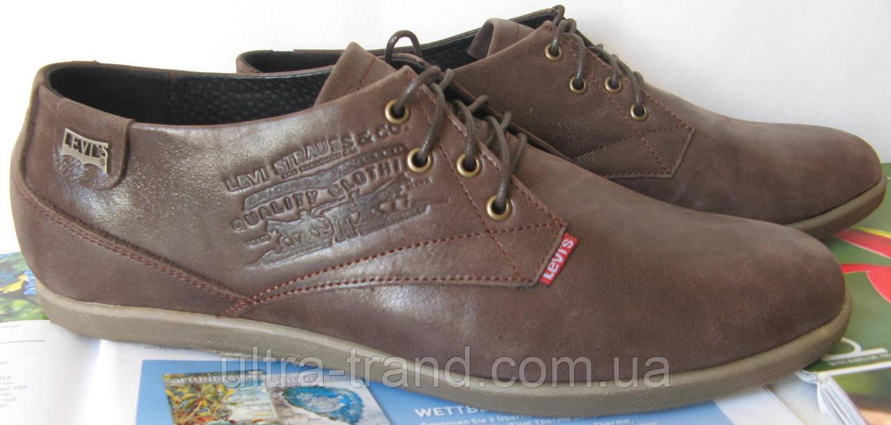 Levis стильные весенние мужские классические туфли коричневая кожа