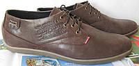 Levis стильные весенние мужские классические туфли коричневая кожа, фото 1