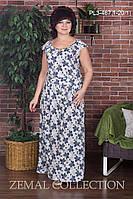 Женское платье весна-лето синее с принтом большие размеры